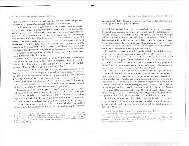 nal i.le ese partido. l..is recles de poder internas h.in alcciado la configuración organi/ativa del partido hlanqiiia/.ul...