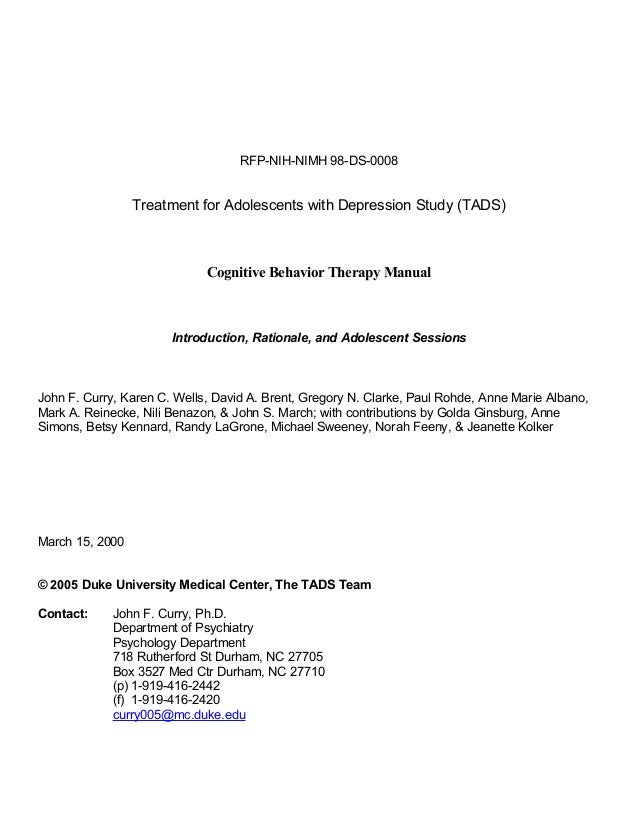 RFP-NIH-NIMH 98-DS-0008                 Treatment for Adolescents with Depression Study (TADS)                            ...