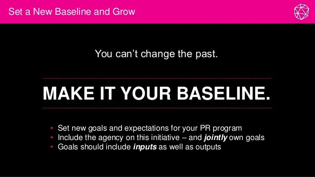 Set a New Baseline and Grow You can't change the past. MAKE IT YOUR BASELINE. • Set new goals and expectations for your PR...