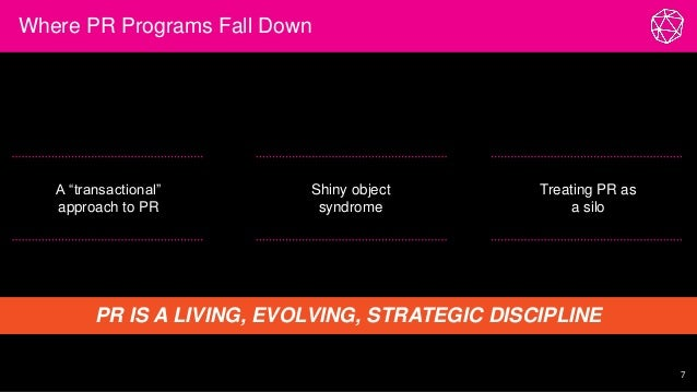 """Where PR Programs Fall Down 7 A """"transactional"""" approach to PR Shiny object syndrome Treating PR as a silo PR IS A LIVING,..."""