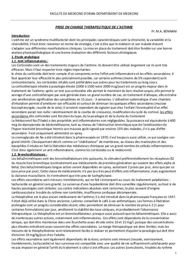 1 FACULTE DE MEDECINE D'ORAN-DEPARTEMENT DE MEDECINE PRISE EN CHARGE THERAPEUTIQUE DE L'ASTHME Pr. M.A. BENNANI Introducti...