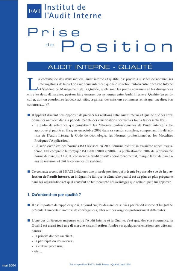 Prise                        de                                   Position                          AUDIT INTERNE - QUALIT...