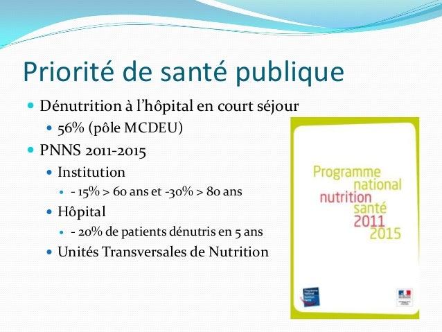 Priorité de santé publique Dénutrition à l'hôpital en court séjour    56% (pôle MCDEU) PNNS 2011-2015    Institution  ...
