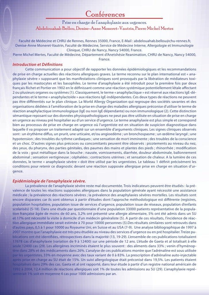 Conférences                           Prise en charge de l'anaphylaxie aux urgences.               Abdelouahab Bellou, Den...