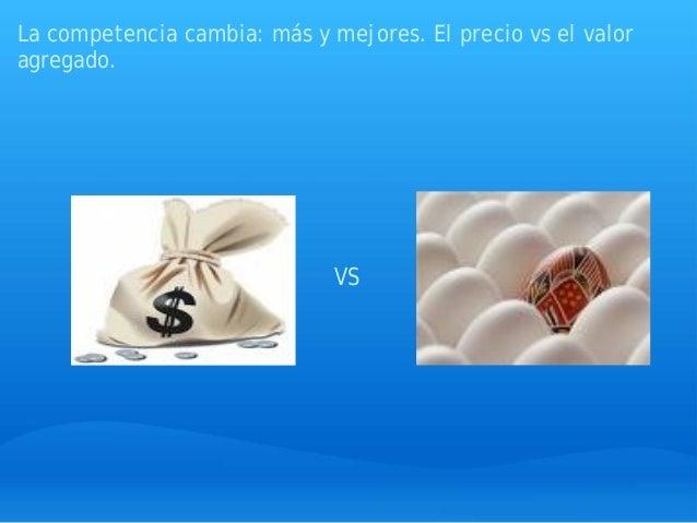 La competencia cambia: más y mejores. El precio vs el valor agregado. VS