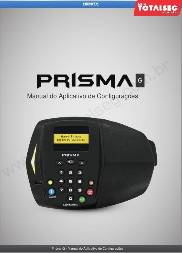 G  Manual do Aplicativo de Configurações  Prisma G - Manual do Aplicativo de Configurações