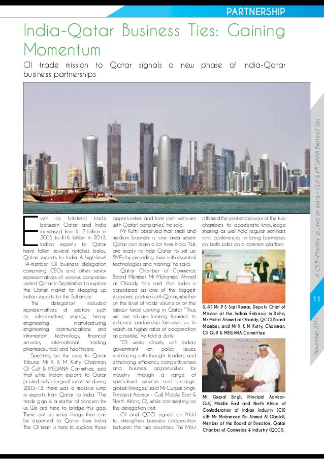 """PARTNERSHIP  India-Qatar Business Ties: Gaining Momentum  opportunities and form joint ventures with Qatari companies,"""" he..."""