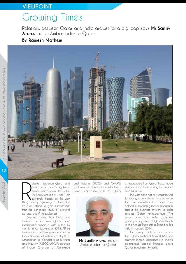 VIEWPOINT  Growing Times  A CII Bi-Monthly Journal on India – Gulf & MEWANA Bilateral Ties  Relations between Qatar and In...