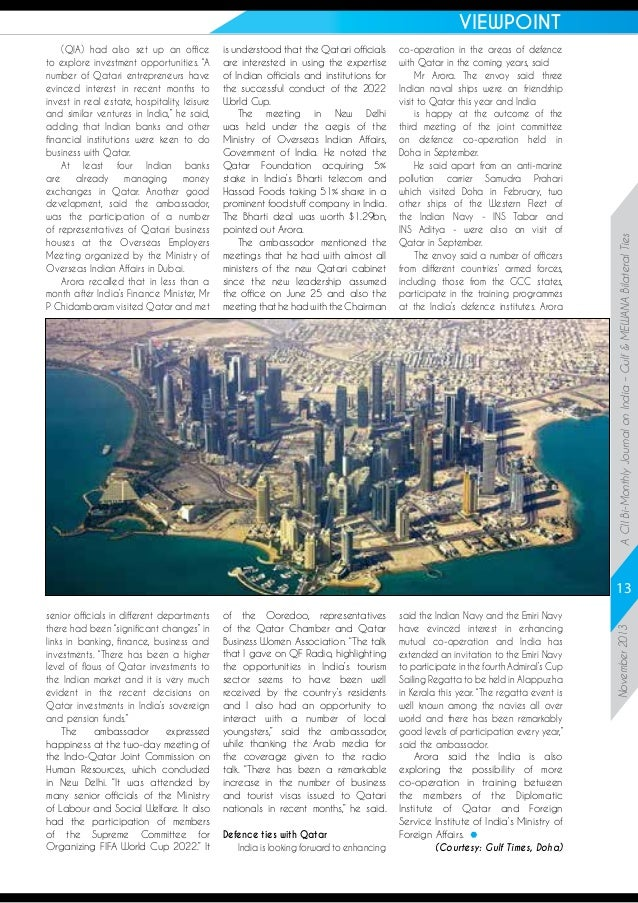 """(QIA) had also set up an office to explore investment opportunities. """"A number of Qatari entrepreneurs have evinced intere..."""