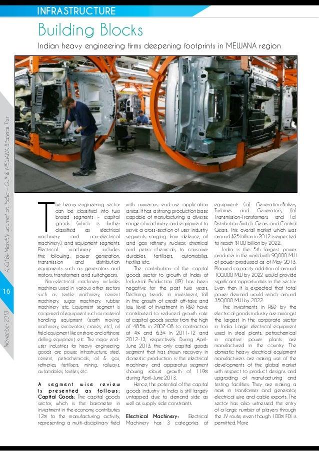 INFRASTRUCTURE  Building Blocks  A CII Bi-Monthly Journal on India – Gulf & MEWANA Bilateral Ties  Indian heavy engineerin...