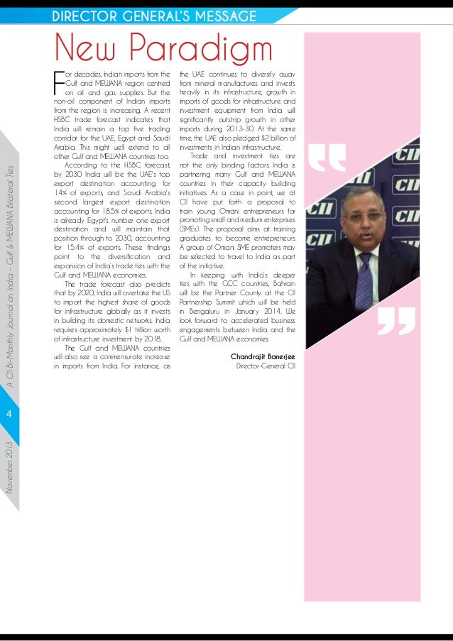 DIRECTOR GENERAL'S MESSAGE  New Paradigm  A CII Bi-Monthly Journal on India – Gulf & MEWANA Bilateral Ties  F  November 20...