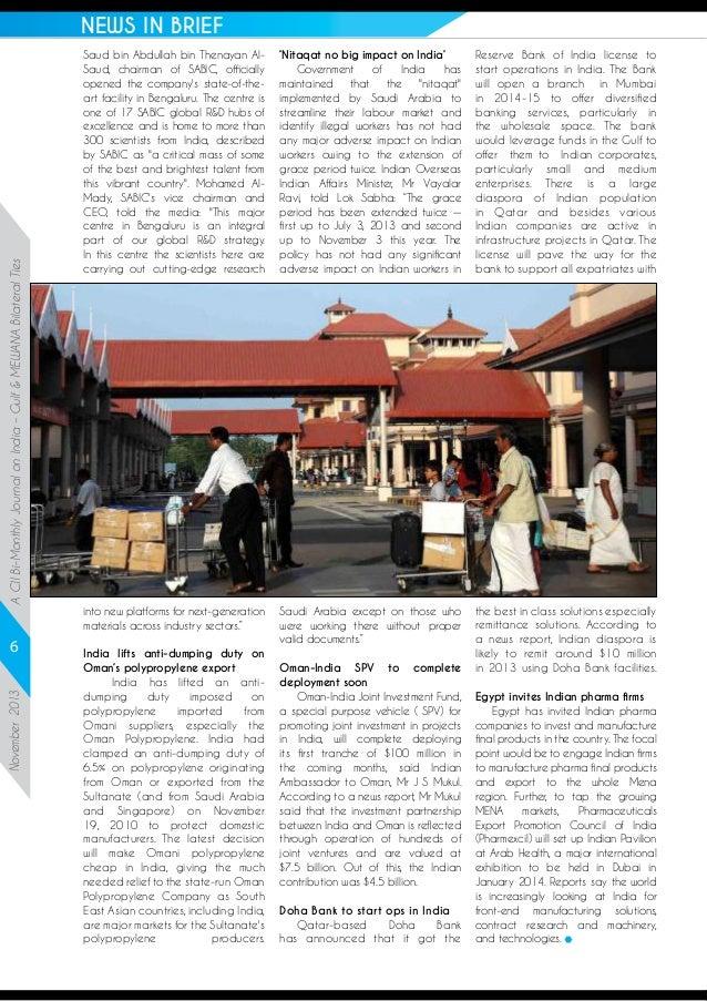 A CII Bi-Monthly Journal on India – Gulf & MEWANA Bilateral Ties  NEWS IN BRIEF  November 2013  6  Saud bin Abdullah bin T...