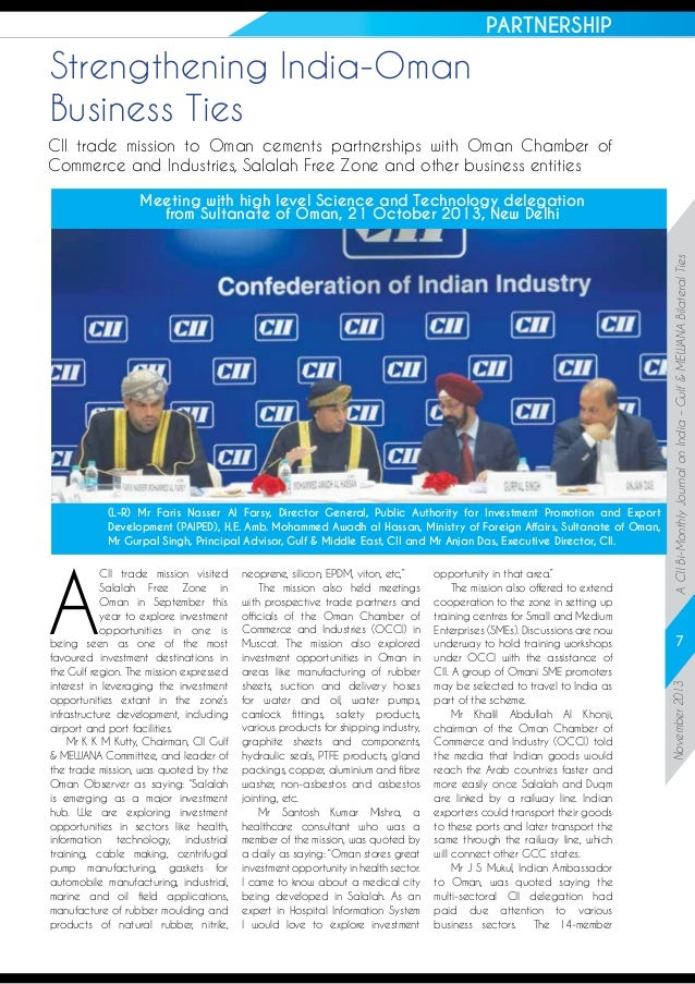 PARTNERSHIP  Strengthening India-Oman Business Ties CII trade mission to Oman cements partnerships with Oman Chamber of Co...
