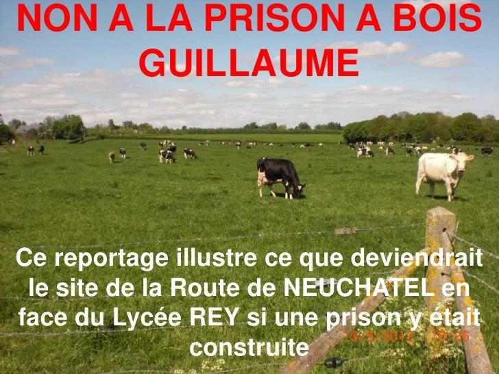 NON A LA PRISON A BOIS     GUILLAUMECe reportage illustre ce que deviendrait le site de la Route de NEUCHATEL enface du Ly...