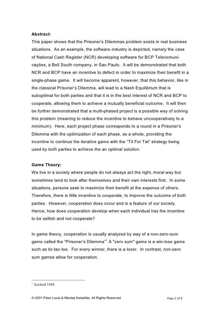 Prisoner S Dilemma Term paper