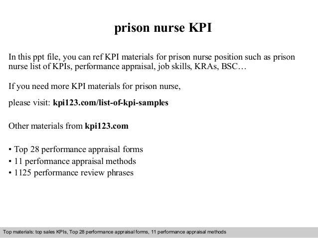 prison nurse KPI  In this ppt file, you can ref KPI materials for prison nurse position such as prison  nurse list of KPIs...
