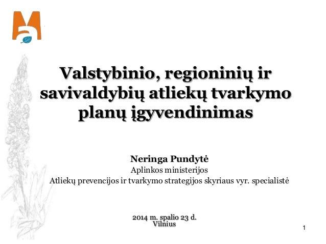 Valstybinio, regioninių ir  savivaldybių atliekų tvarkymo  planų įgyvendinimas  Neringa Pundytė  Aplinkos ministerijos  At...