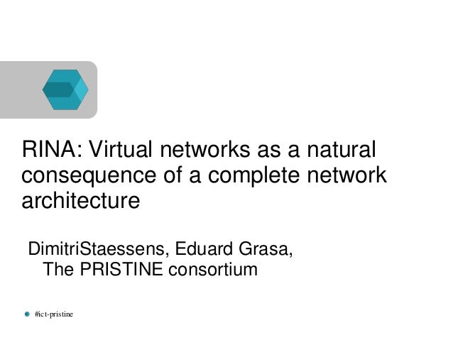 #ict-pristine RINA: Virtual networks as a natural consequence of a complete network architecture DimitriStaessens, Eduard ...