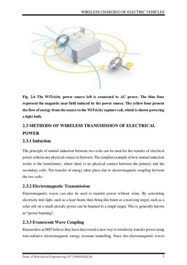 Wireless Charging of Electric Vehicles seminar report