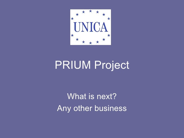 PRIUM Project What is next? Any other business