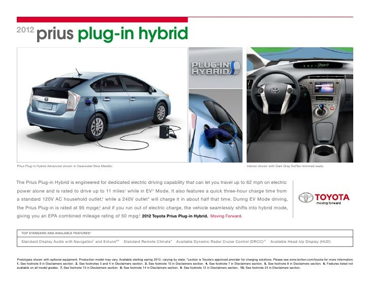 2012 Prius Plug In HybridPrius Plug In Hybrid Advanced Shown In Clearwater  Blue ...
