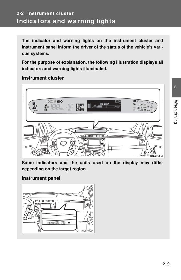 2012 toyota prius gauges 6 2 2 instrument clusterindicators and warning lights the indicator buycottarizona
