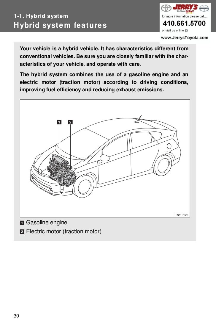 1-1. Hybrid systemHybrid system features     Your vehicle is a hybrid vehicle. It has characteristics different from     c...