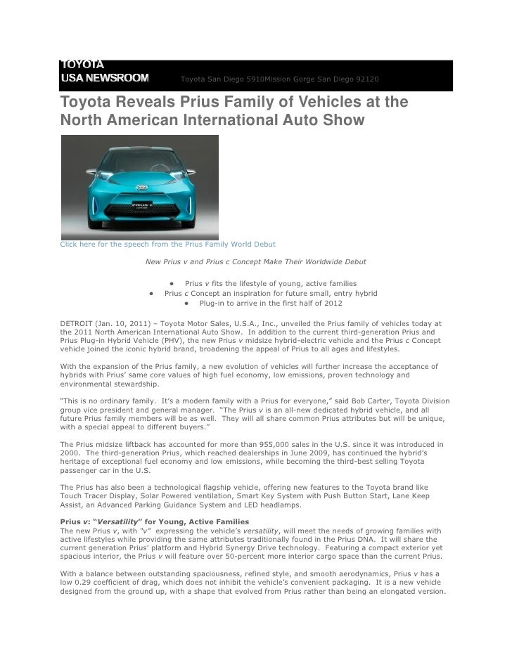 Toyota San Diego 5910Mission Gorge San Diego 92120Toyota Reveals Prius Family of Vehicles at theNorth American Internation...