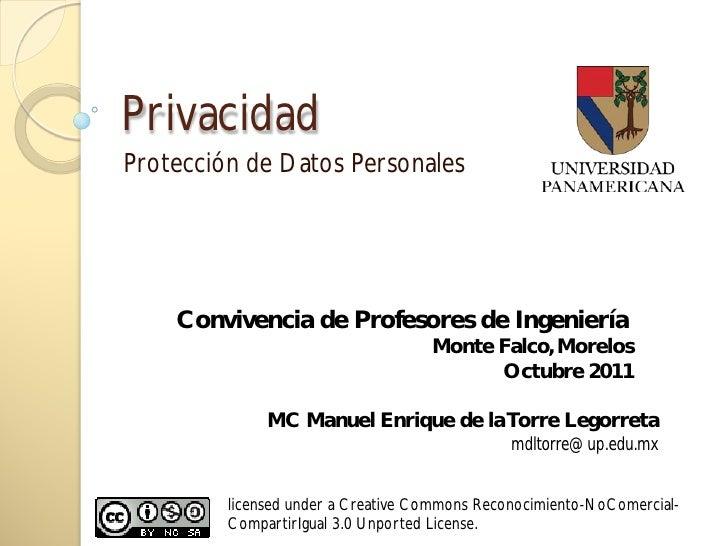 PrivacidadProtección de Datos Personales    Convivencia de Profesores de Ingeniería                                    Mon...