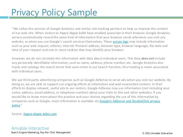 Privacy Policy Sample Template An Entrepreneur Must Be Very Clear