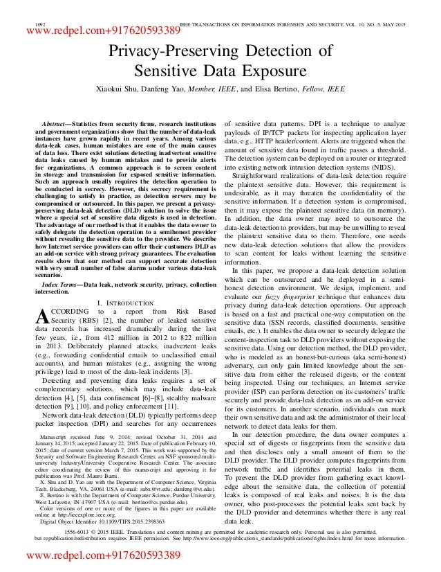 1092 IEEE TRANSACTIONS ON INFORMATION FORENSICS AND SECURITY, VOL. 10, NO. 5, MAY 2015 Privacy-Preserving Detection of Sen...