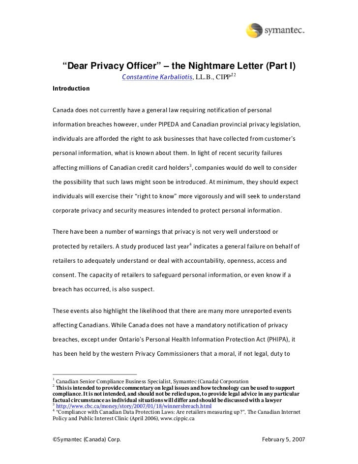 """""""Dear Privacy Officer"""" – the Nightmare Letter (Part I)                              Constantine Karbaliotis, LL.B., CIPP12..."""