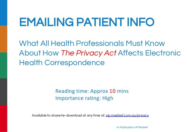 Electronic Patient Health Information - Australian Privacy Laws