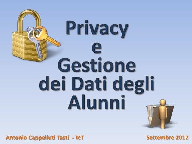 Antonio Cappelluti Tasti - TcT   Settembre 2012