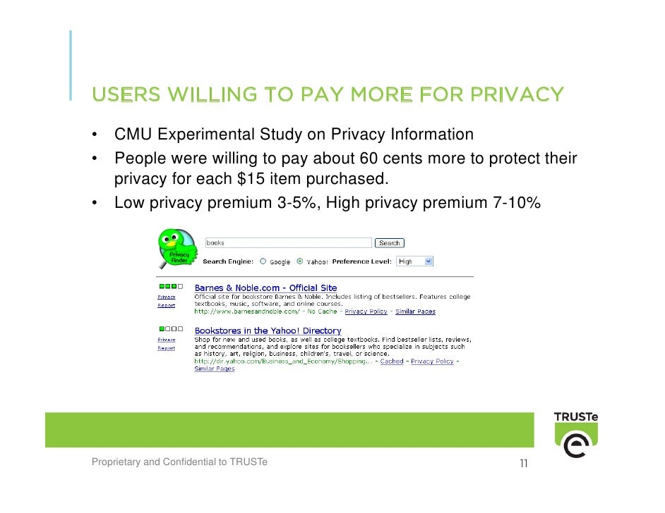 USERS WILLING TO PAY MORE FOR PRIVACY •   CMU Experimental Study on Privacy Information •   People were willing to pay abo...