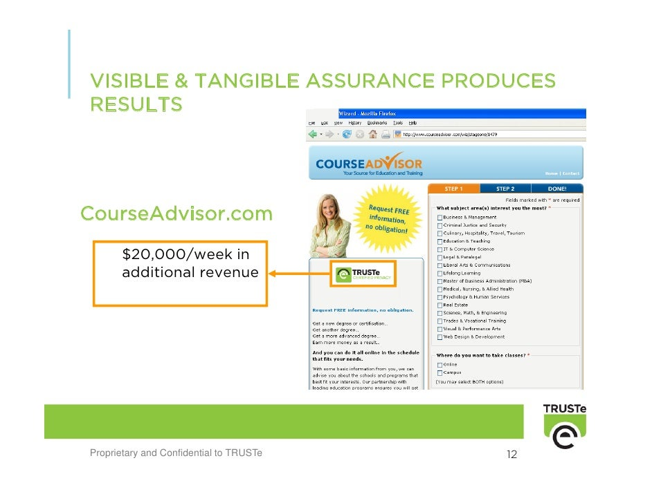 VISIBLE & TANGIBLE ASSURANCE PRODUCES RESULTS     CourseAdvisor.com        $20,000/week in        additional revenue     P...