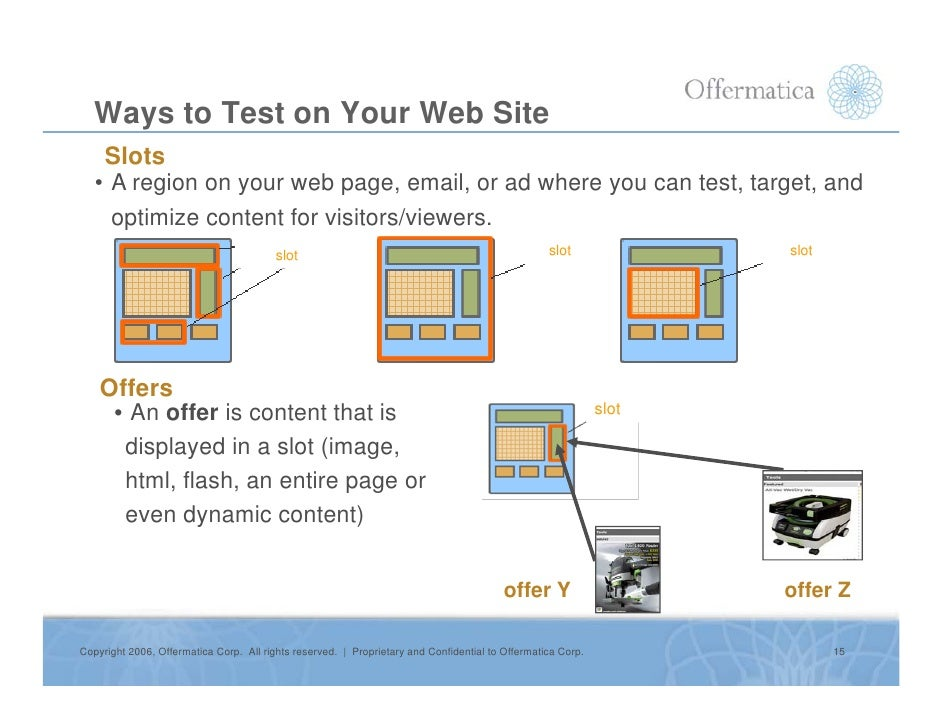 Ways to Test on Your Web Site     Slots    • A region on your web page, email, or ad where you can test, target, and      ...
