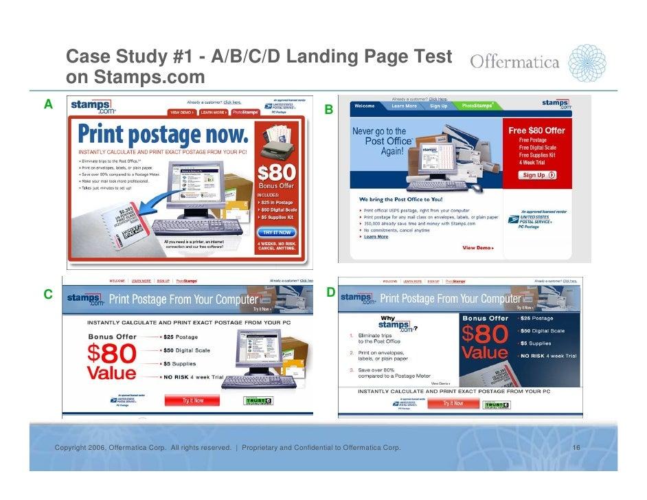 Case Study #1 - A/B/C/D Landing Page Test        on Stamps.com A                                                          ...