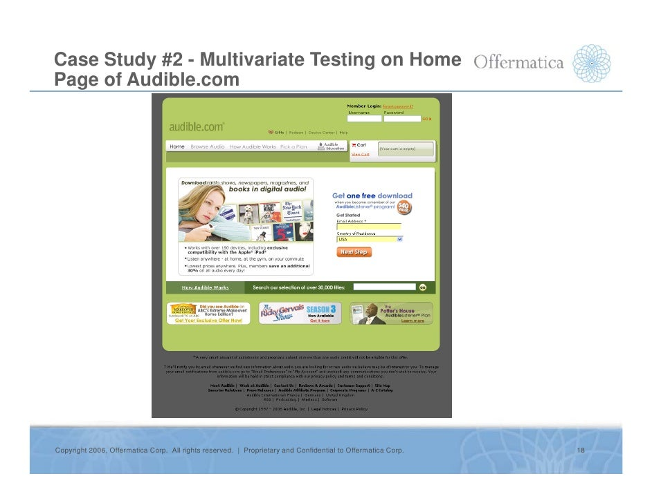 Case Study #2 - Multivariate Testing on Home Page of Audible.com     Copyright 2006, Offermatica Corp. All rights reserved...