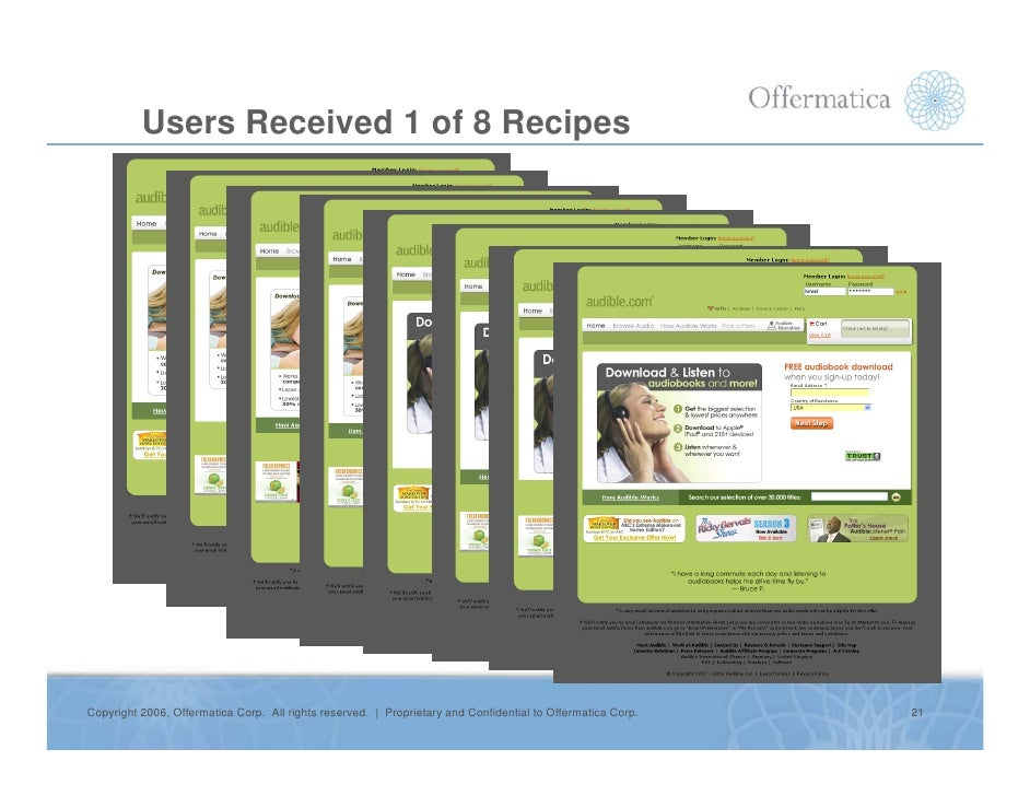 Users Received 1 of 8 Recipes     Copyright 2006, Offermatica Corp. All rights reserved. | Proprietary and Confidential to...