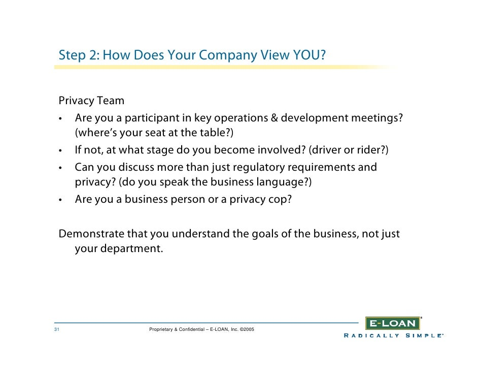 Step 2: How Does Your Company View YOU?    Privacy Team  • Are you a participant in key operations & development meetings?...
