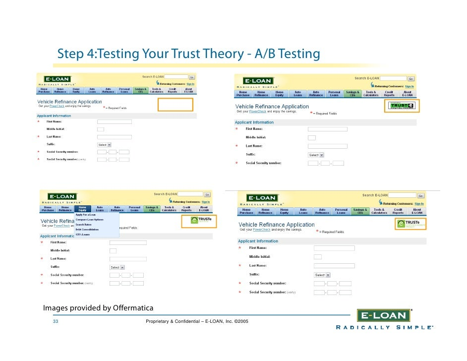 Step 4:Testing Your Trust Theory - A/B Testing     Images provided by Offermatica   33                       Proprietary &...