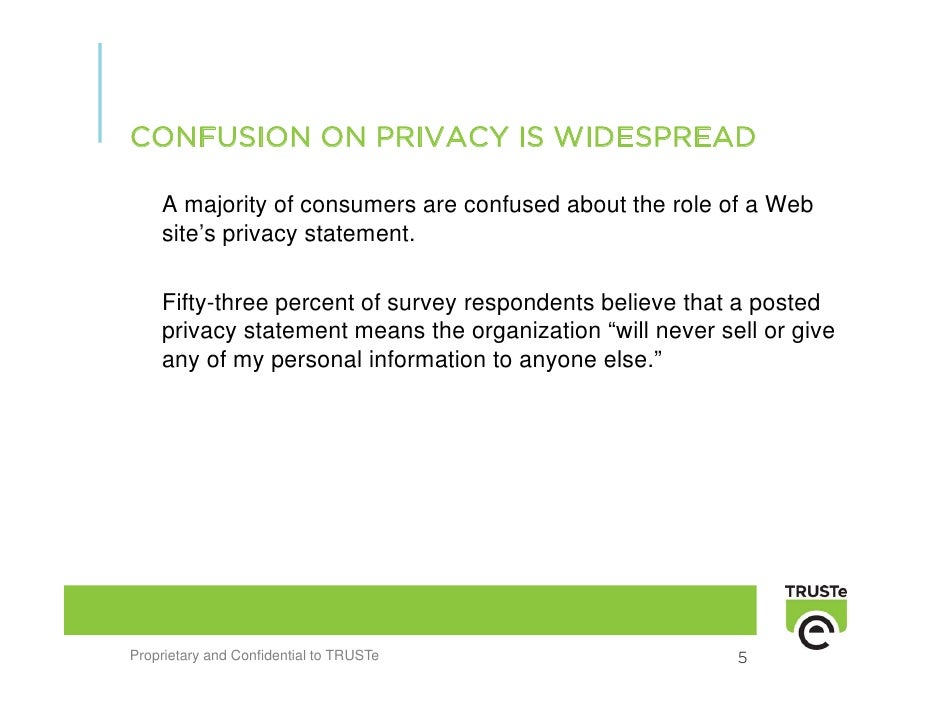CONFUSION ON PRIVACY IS WIDESPREAD      A majority of consumers are confused about the role of a Web     site's privacy st...