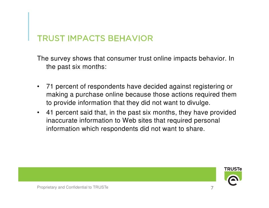 TRUST IMPACTS BEHAVIOR  The survey shows that consumer trust online impacts behavior. In   the past six months:  •   71 pe...