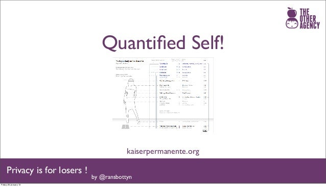 Quantified Self!                                           kaiserpermanente.org     Privacy is for losers !                ...