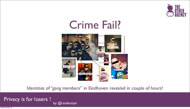 "Crime Fail?                       Identities of ""gang members"" in Eindhoven revealed in couple of hours!     Privacy is fo..."
