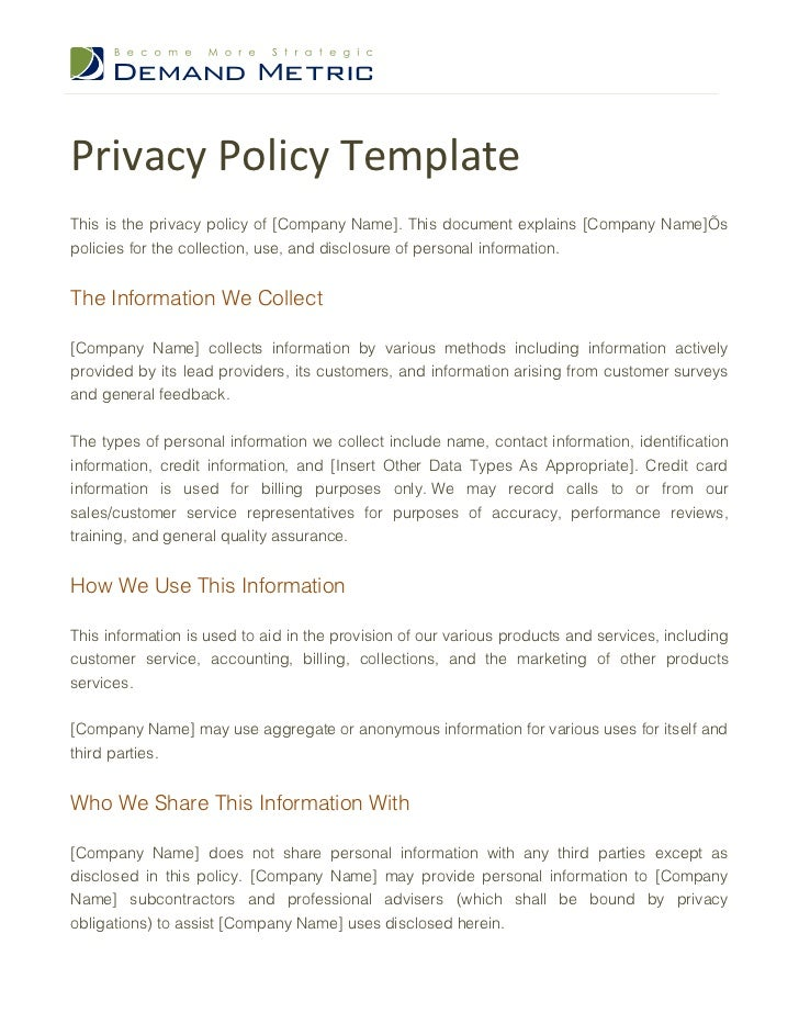 corporate privacy policy template privacy policy template