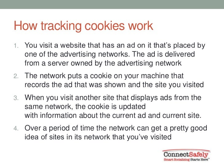 How tracking cookies work1. You visit a website that has an ad on it that's placed by   one of the advertising networks. T...