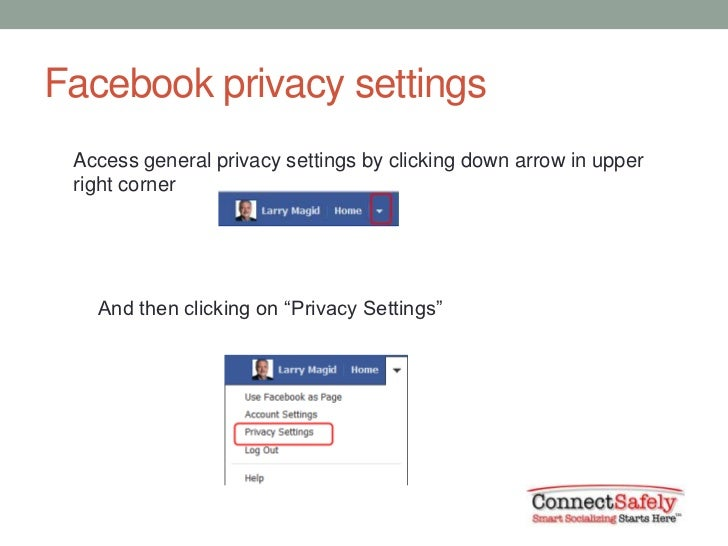 Facebook privacy settings Access general privacy settings by clicking down arrow in upper right corner   And then clicking...