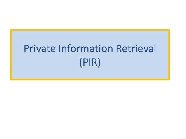 Private Information Retrieval (PIR)